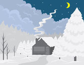 Cottage winters tafereel — Stockvector