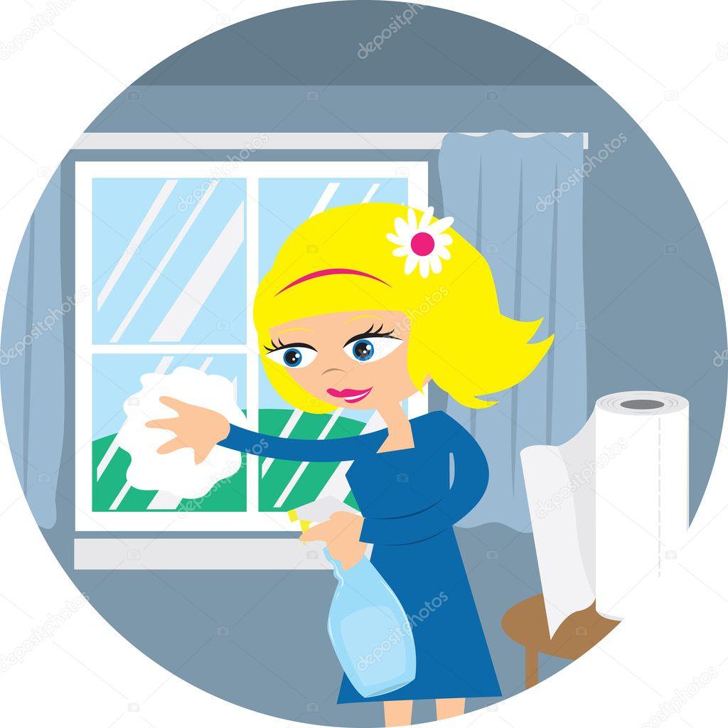 Woman Cleaning Window Stock Vector Milo827 7705013
