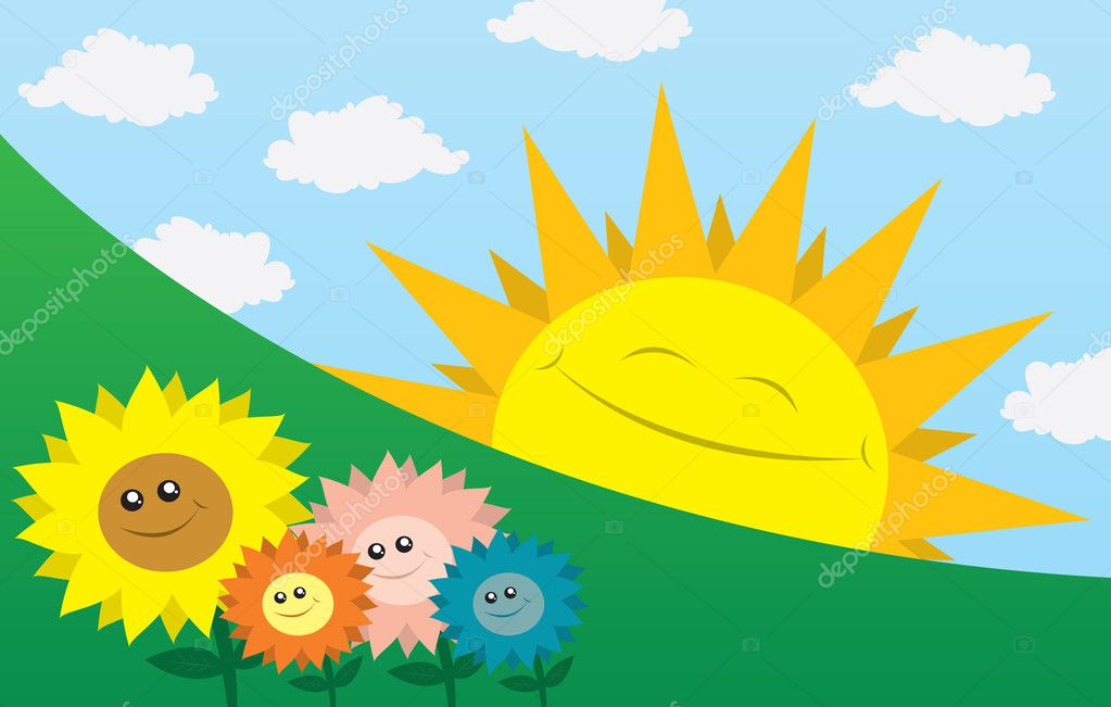 Large sun smiling sideways with flowers in the foreground. — Stock Vector #7798945