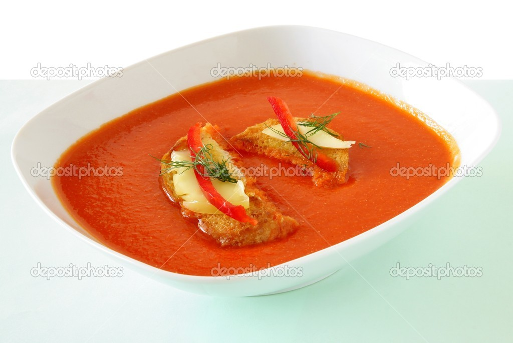 Paprica's pulp soup with toast  Stock Photo #7355247