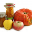 Pumpkin,apples and preserves — Stock Photo #7462437