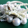 图库照片: Pearls and silver as jewerly