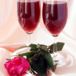 Red wine,rose and toast for love — Stock Photo