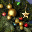 Multicolor Christmas tree ornaments — Stock Photo