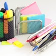 Stock Photo: Pens,pencils,markers and papers in office