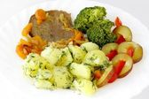 Baked beef meat with potato purre and vegetable salad for dinner or lunch — Stock Photo