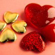 Red and gold hearts as symbols of love and kindness — Stok fotoğraf