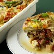 "Stock Photo: Baked grinded meat with vegetable and ""bechamel sauce"""