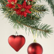 Stock Photo: Christmas tree and red ornaments