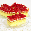 Stock Photo: Fruit cake with jelly and raw raspberries