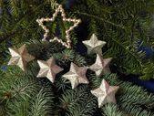 銀製の星とのクリスマス ツリー — ストック写真