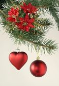 Christmas tree and red ornaments — ストック写真