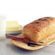 Loaf of bread,milk and butter for breakfast — Foto Stock
