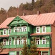 Retro wooden house in Polish resort Krynica - Stock Photo