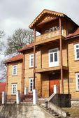 Retro wooden house in resort Krynica — Stock Photo