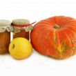 Pumpkin, apple and jam as preserve - Stock Photo
