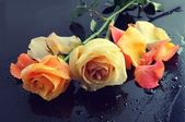 Roses in black table — Stockfoto