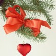 Red heart as Christmas ornament — Stock Photo