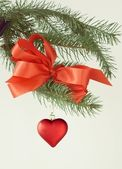 Red heart as Christmas ornament — Stok fotoğraf