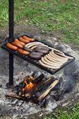 Grillen von würstchen und fleisch unter feuer im garten — Stockfoto