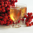 "Stock Photo: Red rowberries and ""rowan-vodka"""