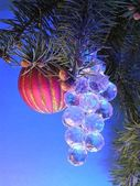 Christmas tree and ornaments — Stock Photo