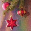 Stock Photo: Christmast tree and red ornaments