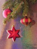 Christmast tree and red ornaments — Stok fotoğraf