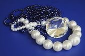 Pearl,diamond and other necklaces — 图库照片
