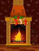 Stone fire-place with a christmas decorations — Stock Photo