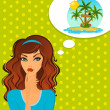 Young woman dream about tropical beach — Stock Photo