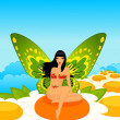 Pretty girl with butterfly pink wings. — Stock Photo #7225342