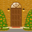 Door and flowerbeds. — Stock Photo