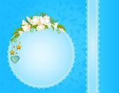 Background with lace ornaments and flowers — Stock Photo