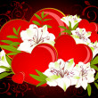 Stock Photo: Beautiful Lily bouquet with hearts