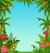 Background with tropical plants and parrots. — Stock Photo