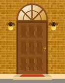 Facade of house with door — Stock Photo