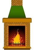 Cartoon stone fire-place with a conflagrant fire — 图库照片