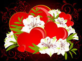Beautiful Lily bouquet with hearts — Stock Photo