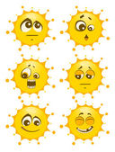 Set of sun mimic miens — Stock Photo