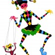 Stock Photo: Cartoon court jester holds marionette