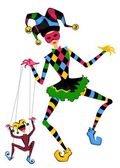 Cartoon court jester holds a marionette — Stock Photo