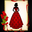Vintage silhouette of beautiful bride in dress. — Stock Photo