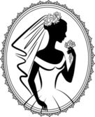 Vintage silhouette of beautiful bride in dress — Stock Photo