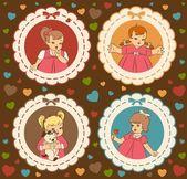 Vintage dei cartoni animati bambino — Foto Stock