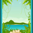 Beautiful background with tropical branches — Stock Vector