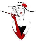 Vintage fashion girl — Stock Vector