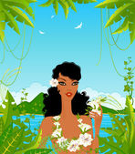 Young woman on the tropical background — Stock Vector
