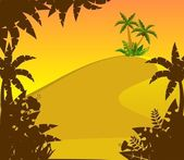 Beautiful background with tropical branches — Stockvector