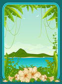 Beautiful background with tropical branches — Vecteur